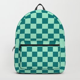 Magic Mint Green and Teal Green Checkerboard Backpack