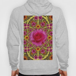 EXOTIC Decorative Yellow ART & Pink Roses Hoody
