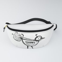 Little bird  black and white drawing Fanny Pack