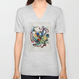 Colorful Octopus Art by Sharon Cummings Unisex V-Neck