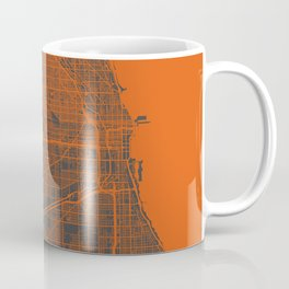 Chicago map orange Coffee Mug