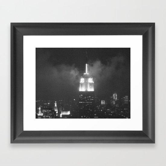 Gotham city in black and white Framed Art Print