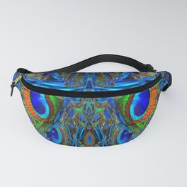 ARTY FEATHERY BLUE PEACOCK ABSTRACTED  FEATHERS ART Fanny Pack