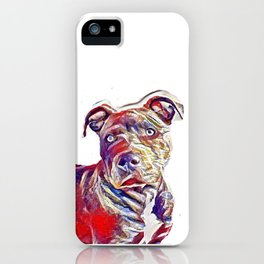 Pit Bull lover, Portrait of a Pit Bull artwork, unique tapestry for pit bull  lovers iPhone Case