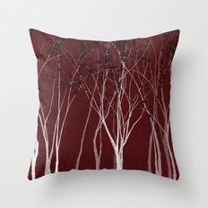 Crimson Night Forest Throw Pillow