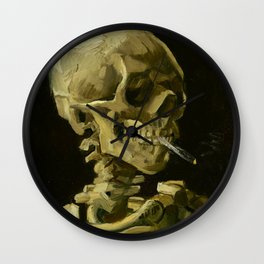 Skull of a Skeleton with Burning Cigarette Painting by Vincent van Gogh Wall Clock