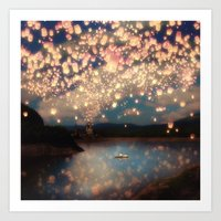 Art Prints featuring Love Wish Lanterns by Paula Belle Flores