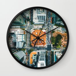 Aerial Cityscape View (Color) Wall Clock