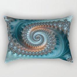 Feathery Flow - Teal and Taupe Fractal Art Rectangular Pillow