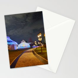 Phipps Conservatory in Pittsburgh and the Cathedral of Learning victory lights at night 1 Stationery Cards