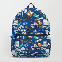 Watercolor Gaming Video Game Devices Pattern Blue Backpack