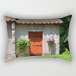 Lourdes University-  Portiuncula  Chapel Door with Clematis Rectangular Pillow