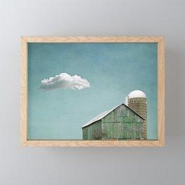 Green Barn and a Cloud Framed Mini Art Print