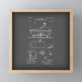 Rocking Oscillating Bathtub Patent Engineering Drawing Framed Mini Art Print