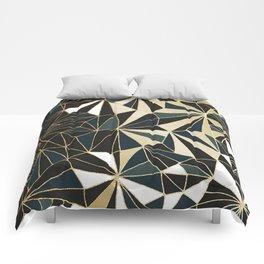 New Art Deco Geometric Pattern - Emerald green and Gold Comforters