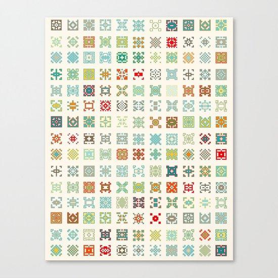 Fairisle 1 Bone Canvas Print