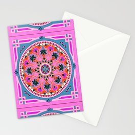 Boho Floral Crest Pink and Red Stationery Cards