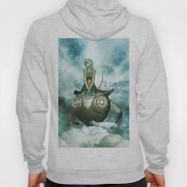 Steampunk women fly with a mechanical owl Hoody
