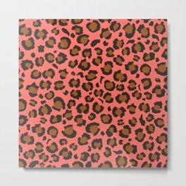 Coral and Brown Leopard Print - Living Coral design Metal Print
