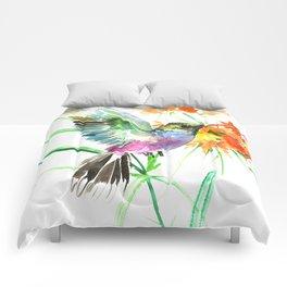 Hummignbird and Flowers Comforters