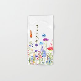 colorful wild flowers watercolor painting Hand & Bath Towel