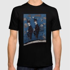 Two Men Travelling Mens Fitted Tee MEDIUM Black