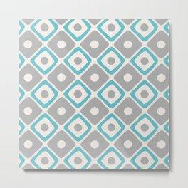 Mid Century Modern Diamond Dot Pattern 429 Gray and Blue Metal Print