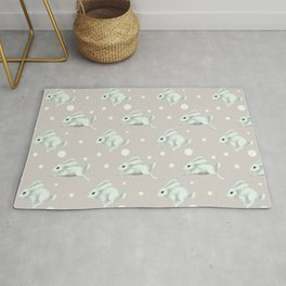 Cute white rabbit runs away Rug