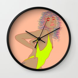 High Cut 80's Swimsuit Fashion Editorial Illustration, Neon and Skintones Wall Clock