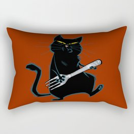 Cat with a fork Rectangular Pillow