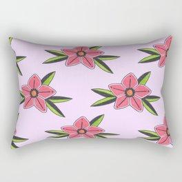 Old school tattoo flower pattern in lilac Rectangular Pillow