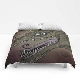 Brown dragon illustration Comforters