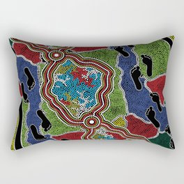 Aboriginal Art Authentic - Walking the Land Rectangular Pillow