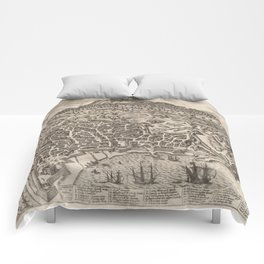 Vintage Map of Catania Italy (1597) Comforters