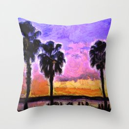Celebrating Sunset and Palm Trees Throw Pillow