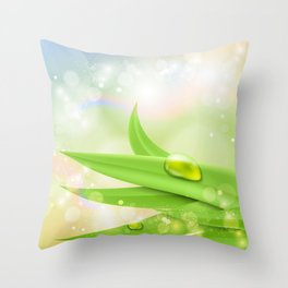 pastel colors with green grass and dew Throw Pillow