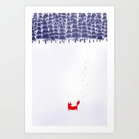 minimal Art Prints featuring Alone in the forest by Robert Farkas