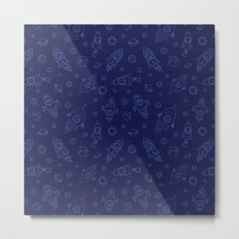 Space Animals light blue on dark blue Metal Print
