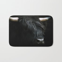 Minimalist Black Scottish Highland Cattle Portrait - Animal Photography Bath Mat