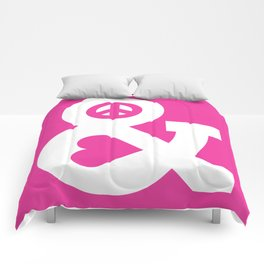 Peace and Love (pink edition) Comforters