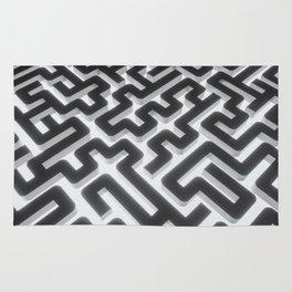 Maze Silver Black Rug