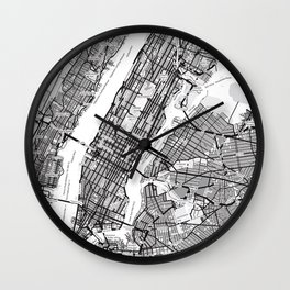 New York City Showing Manhattan, Brooklyn and New Jersey Wall Clock