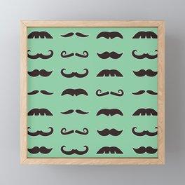 Vintage brown mustaches on seafoam green background Framed Mini Art Print