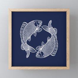 Navy Blue Koi Framed Mini Art Print