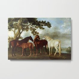 Classical Masterpiece Circa 1762 Mares and Foals in a River Landscape by George Stubbs Metal Print