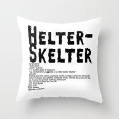 Helter Skelter (black on white) Throw Pillow