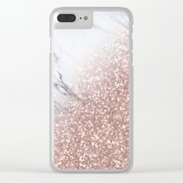 Blush Pink Sparkles on White and Gray Marble V Clear iPhone Case
