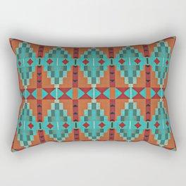 Orange Red Aqua Turquoise Teal Native Mosaic Pattern Rectangular Pillow
