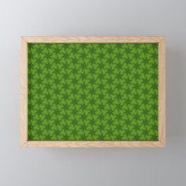 Tiny Green Flowers Pattern Framed Mini Art Print