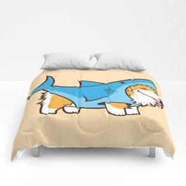 Corgi in a Shark Suit Comforters